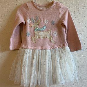 Rosy Pink Reindeer Sparkle Tutu Dress 12-18 months